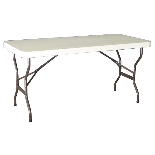 A picture of white fold up table on side