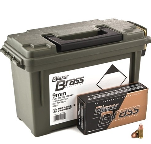 Green tub of blazer brass ammo